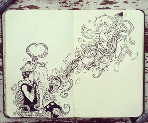 love, cupid, and draw image