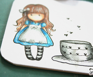 alice in wonderland, drawing, and girl image