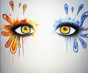 eyes, drawing, and fire image