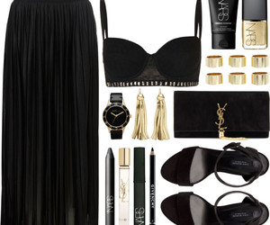 black and gold, cropped, and outfit image