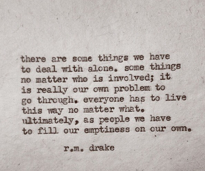 quote, r.m. drake, and alone image
