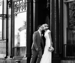 black and white, bride, and couple image