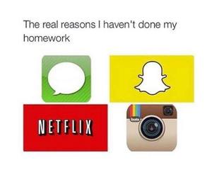 netflix, snapchat, and homework image