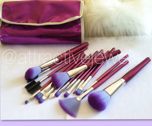Brushes, makeup, and purple brushes image