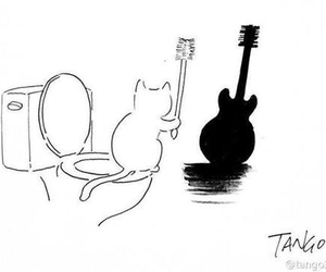 cat, guitar, and ombre image