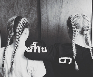 best friends, braids, and black and white image