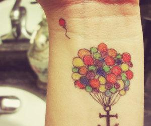 tattoo, balloons, and tatoo image