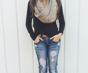 fashion, jeans, and scarf image