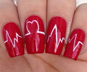 heartbeat, nails, and red image
