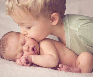 baby, kiss, and brother image