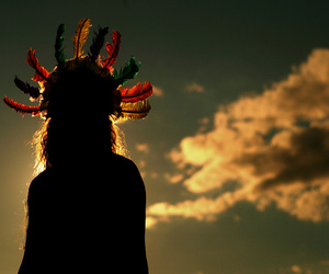 american indian, indian, and clouds image