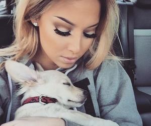 dog, girl, and makeup image