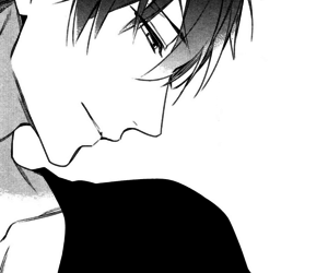 b&w, gentle, and manga boy image