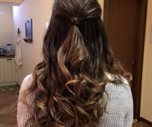 brown hair, curly hair, and hairstyle image