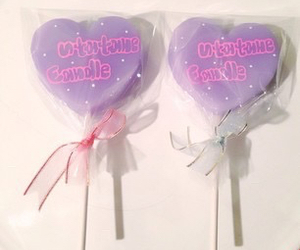 candy, heart, and ribbon image