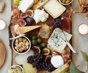 food, cheese, and fruit image