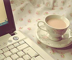 computer, tea, and coffee image