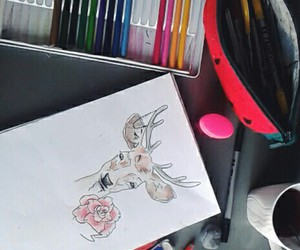 color, deer, and drawing image
