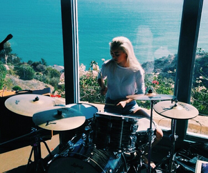 drums, ocean, and summer image