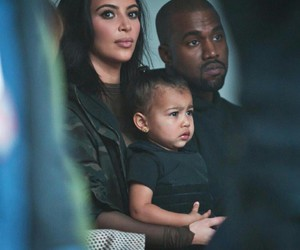 kim kardashian, north west, and kanye west image