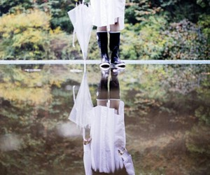 forest, korean model, and mirrored image