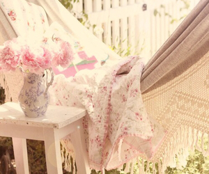 flowers, pink, and hammock image