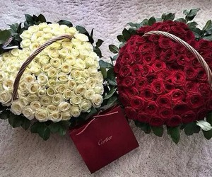 Relationship, couple, and roses image