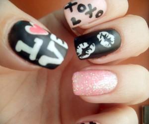 nails, black, and hearts image