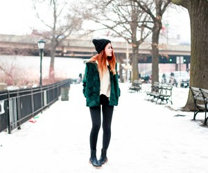 red hair and snow image