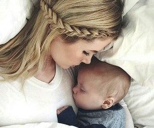 baby, mom, and sleep image