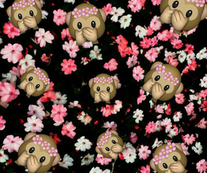 emoji, monkey, and flowers image