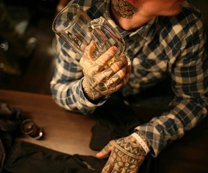 tattoo, boy, and beer image