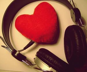 music, heart, and headphones image