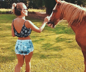 girl, horse, and blonde image