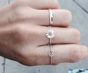 rings, flowers, and hand image