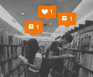 boy, girl, and library image