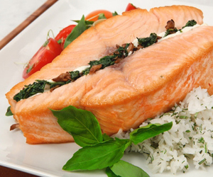 rice, food, and salmon image