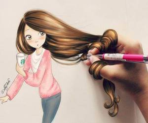 art, draw, and girl thing image