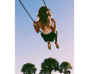 girl, swing, and summer image