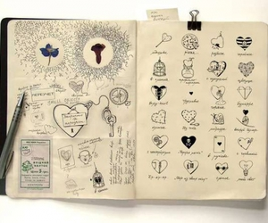 diary, drawings, and hearts image
