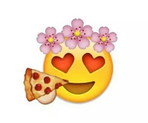 flowers, hearts, and pizza image