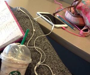 bag, book, and earphones image