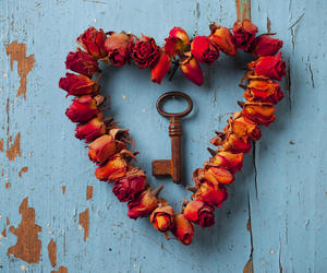 heart, key, and art image