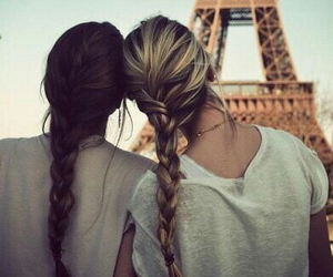 best friends, paris, and eiffel tower image