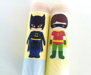 Batman and Robin, lip balm, and organic image