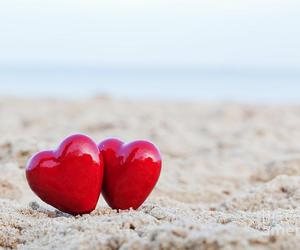 beach, heart, and hearts image