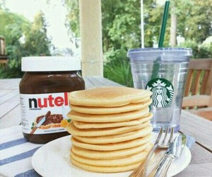drink, pancakes, and food image