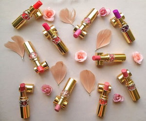 flowers, lipstick, and YSL image