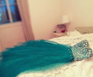 prom dress green blue image
