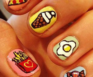 food, nails, and pizza image
